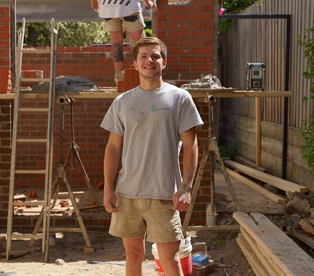 Smiling Bricklayer Apprentice