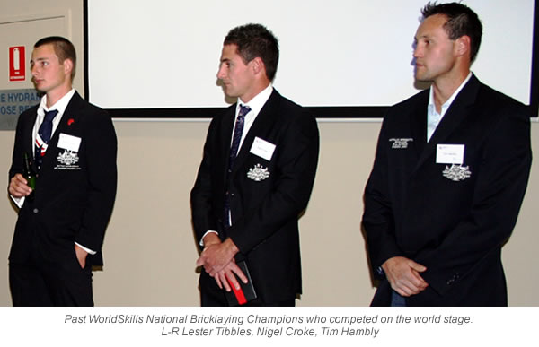 Past WorldSkills National Bricklaying Champions who competed on the world stage. L-R Lester Tibbles, Nigel Croke, Tim Hambly