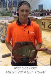 Nicholas Coci Gun Trowel Winner 2014 with caption