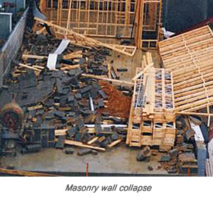 Brick wall collapse