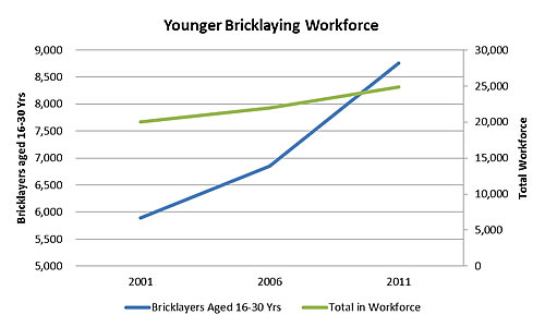 Younger Bricklaying workforce graph Special size 2016