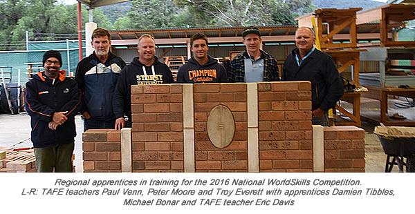 NSW Regional apps 2016 National WorldSkills Paul Venn Peter Moore Troy Everett Apps Damien Tibbles Michael Boner and Eric Davis wth Caption