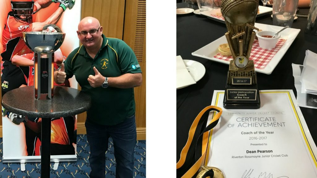 Dean Pearson Wins Community Junior Cricket WA Coaching award