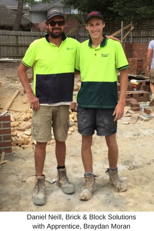 Crushing myths leading to underpaid workers. Daniel Neill, Brick & Block Solutions with Apprentice, Braydan Moran
