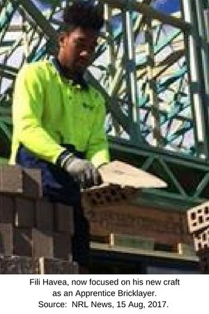 NRL player, Fili Havea as Apprentice Bricklayer